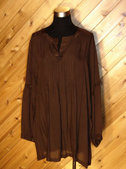Lotustraders Chocolate Brown Blouse Tunic Top OSFA NWT