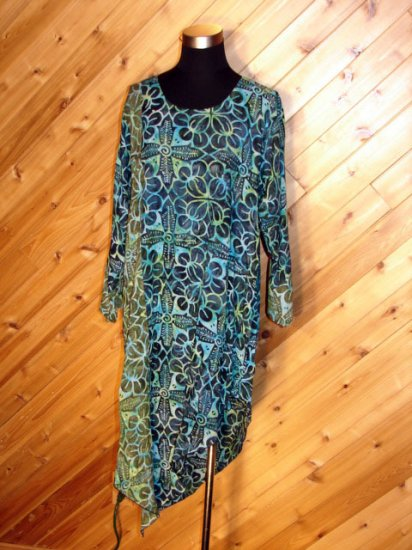 Lotustraders Multi Blue Blouse Tunic Top OSFA NWT