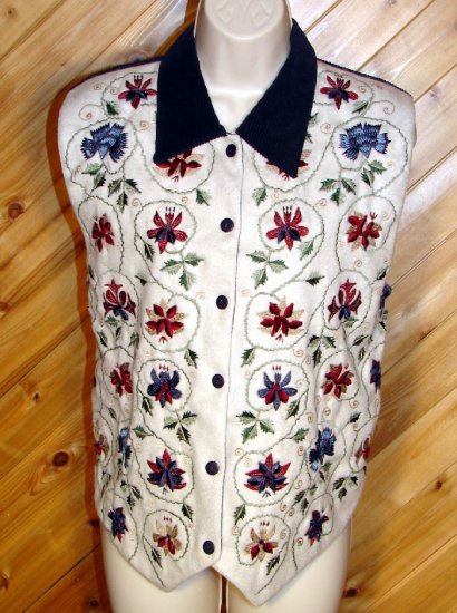 Chrysantheme Embroidered Corduroy Flannel Vest M