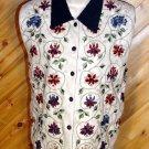 Chrysantheme Embroidered Corduroy Flannel Vest M