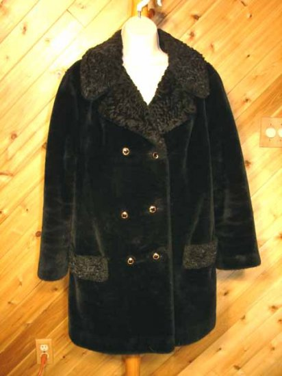 Faux Fur Lamb Trim RETRO Double Breasted Womens Coat M
