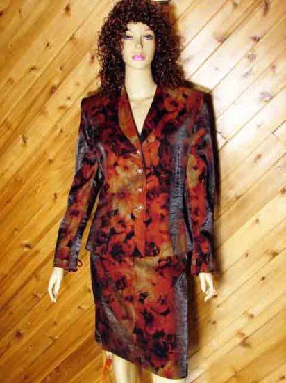 Lord Taylor Multi Earthtone Floral Skirt Suit Outfit 12