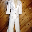 Passion White Cotton/Lycra 2 pc Pant Jacket Outfit 12