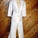 Passion White Cotton/Lycra 2 pc Pant Jacket Outfit 12