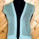 Necessary Objects Aqua Blue Sequin Knit Silk Vest L