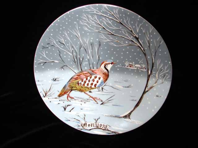 Haviland Limoges Hetreau Xmas 1970 Plate Partridge Tree