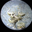 Haviland Limoges Hetreau Xmas 1975 Plate Geese A'Laying