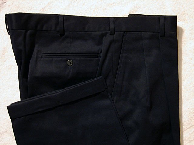 Lands End Navy Casual Cotton Mens Pants 42/30
