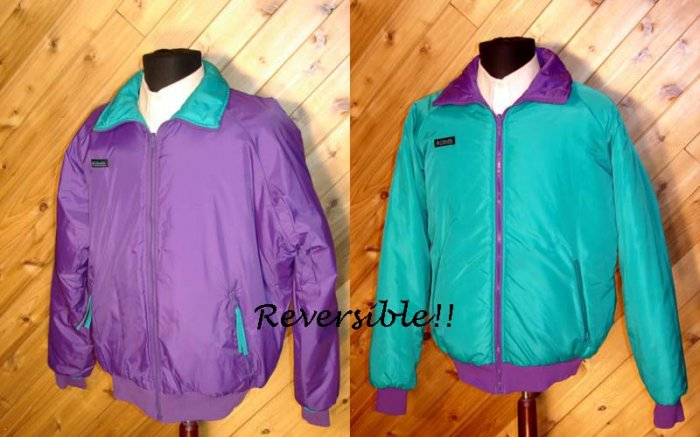 Columbia Reversible Men Purple/Green Outerwear Jacket L