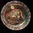 Fenton Carnival Glass Xmas 1972 Two Horned Church Plate