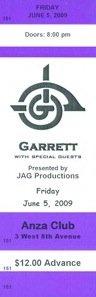 GARRETT CD RELEASE TICKETS
