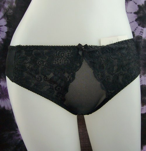 SEXY black briefs with lace panties  L