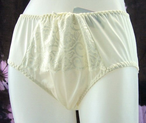 Free ship ~ Cream full briefs with lace nylon panties XL