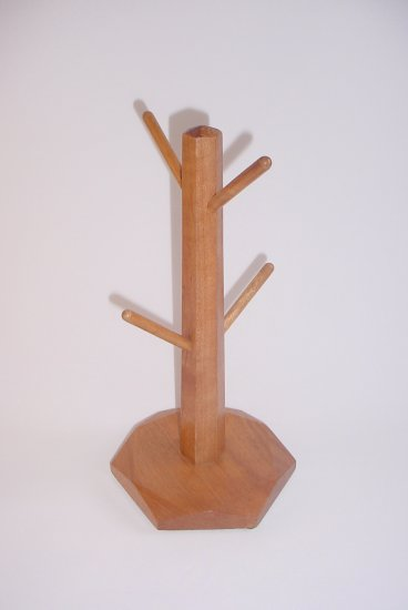 Wooden Mug Tree 4 pegs Natural