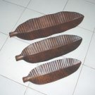 Banana Leaf Wood set of 3