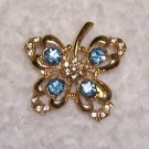 Vintage Brooch with Blue Rhinestones