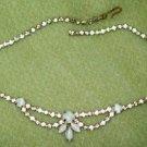 Moon Stone and Rhinestone Vintage Necklace
