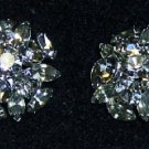 "Rhinestone Clip-on Earrings 1 1/4"" light Smoke color"