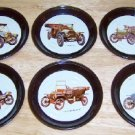 Metal Coasters with Antique Cars Set of Six