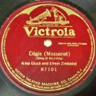 Single Side Record  Elegie Massenet 78 RPM