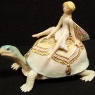 Vintage Cybis Fairy on Turtle Figurine