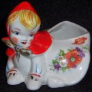 Hull Pottery Little Red Riding Hood Crawling Sugar Bowl