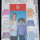 McCall's Sewing Pattern, Childrens/Girls Tops M4575