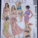 McCall's Swinsuits Sewing Pattern M4471 misses Two Piece Bathing & Pareo
