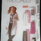 McCall's M4555 Sewing Pattern Girls & Girls Plus Sweatercoat, Dress, Top & Pants