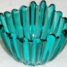 Ribbed Teal Art Glass Bowl