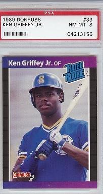 1989 Donruss Ken Griffey JR PSA 8 rookie card