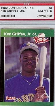 1989 Donruss Rookies Ken Griffey JR PSA 8 rookie card