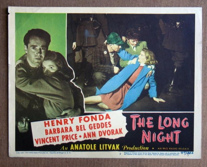 CD34 Long Night HENRY FONDA and BARBARA BEL GEDDES 1947 original lobby card