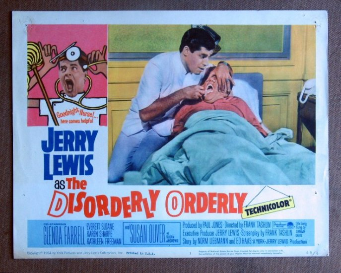 CF15 Disorderly Orderly JERRY LEWIS Orig 1965 Lobby Card