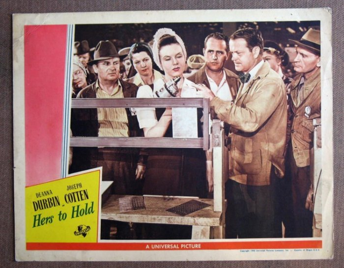 CJ21 Hers To Hold DEANNA DURBIN  Original 1943 Lobby Card