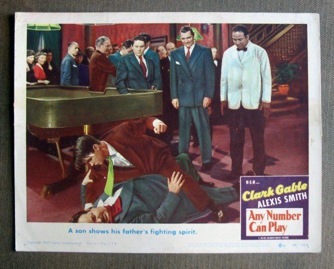 CS07 Any Number Can Play CLARK GABLE 1949 Lobby Card