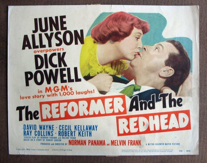 CO34 The Reformer & The Redhead JUNE ALLYSON  Original 1950 Title Card