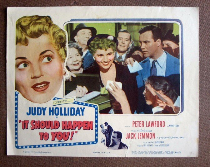 CP20 It Should Happen To You JUDY HOLLIDAY & JACK LEMMON Original 1954 Lobby Card