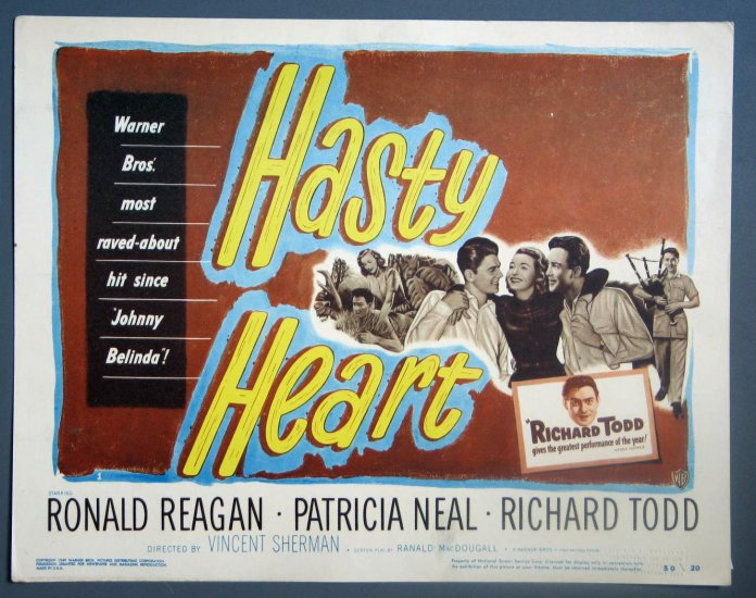 BA18 Hasty Heart RONALD REAGAN ORIGINAL 1950 TITLE CARD