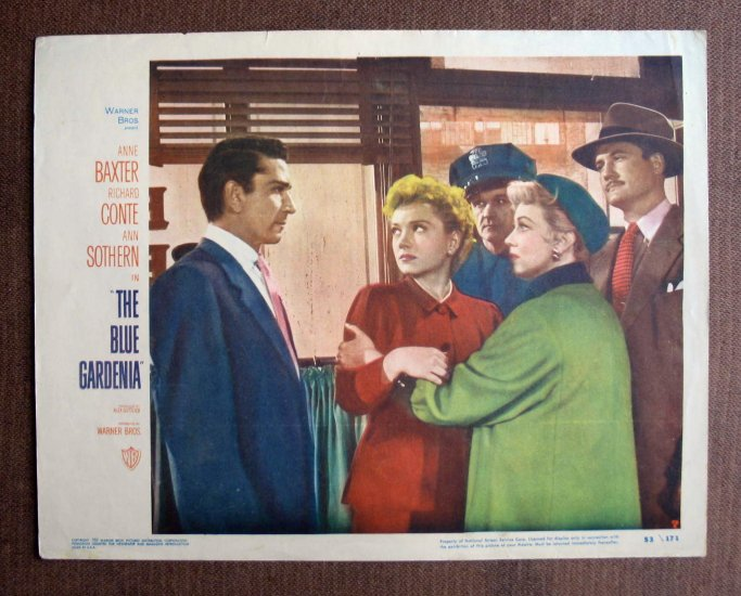 BM12 Blue Gardenia ANNE BAXTER and GEORGE REEVES Lobby Card