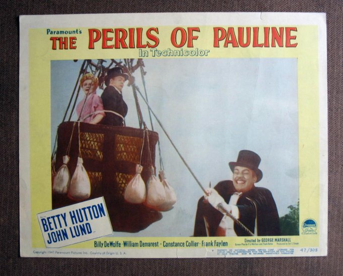 BM37 Perils Of Pauline BETTY HUTTON Original 1947 Lobby Card