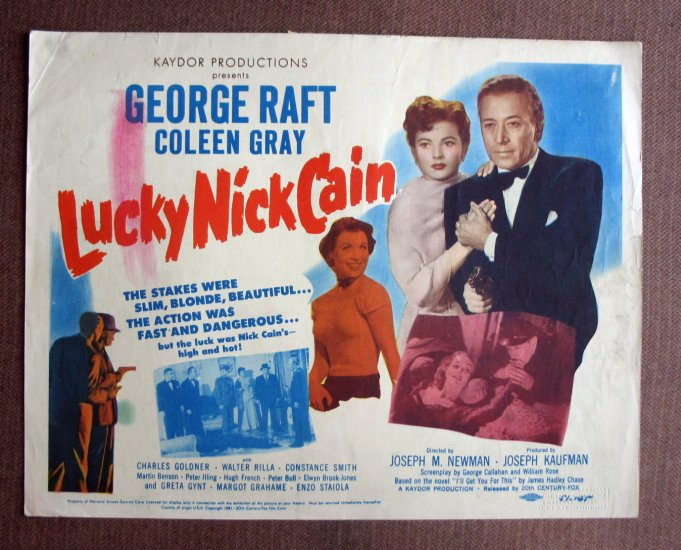 BN42 Lucky Nick Cain GEORGE RAFT 1951 TITLE Lobby Card