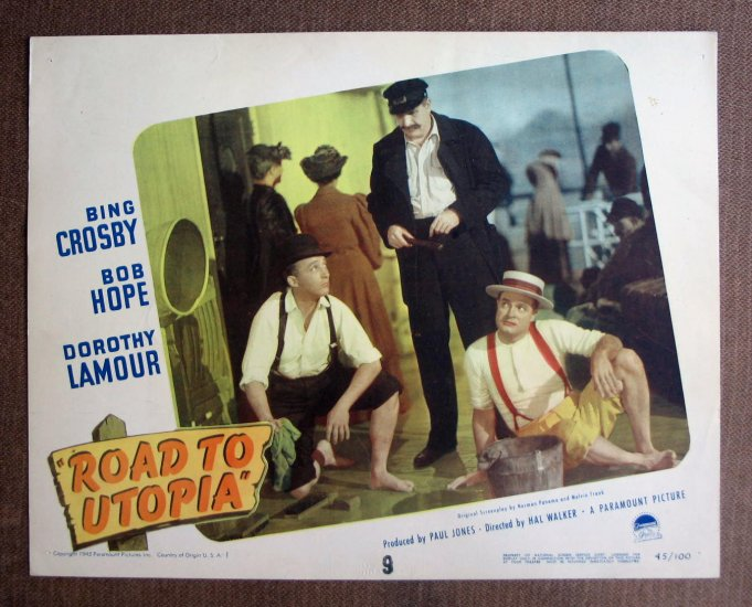BN52 Road To Utopia BOB HOPE and BING CROSBY 1945 Lobby Card