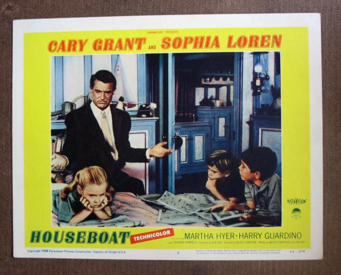 BO25 Houseboat CARY GRANT and SOPHIA LOREN 1958 Lobby Card