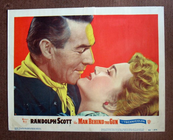 BO34 Man Behind The Gun RANDOLPH SCOTT 1952 Lobby Card