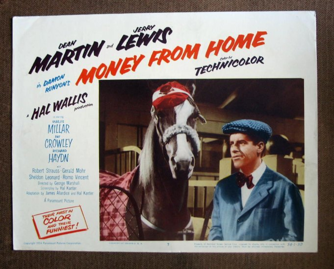 BO35 Money From Home JERRY LEWIS 1954 Portrait Lobby Card
