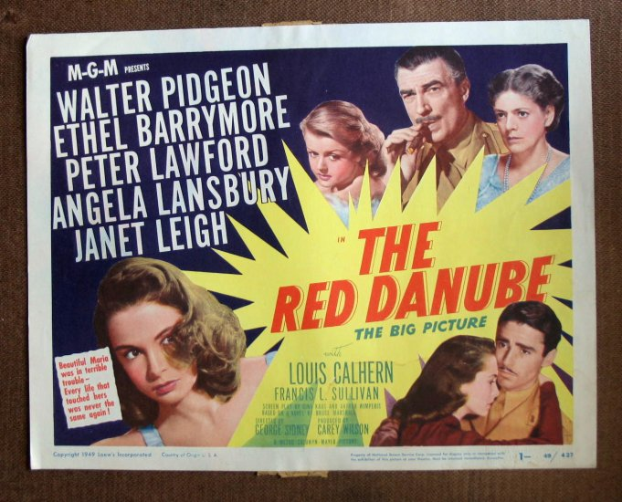 BO39 Red Danube JANET LEIGH and PETER LAWFORD 1949 Lobby Card