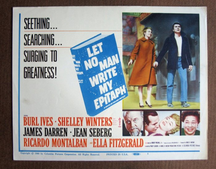 BV24 Let No Man Write My Epitah SHELLEY WINTERS and JAMES DARREN Lobby Card