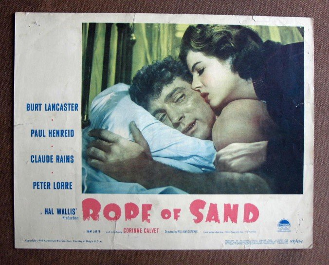 BW35 Rope Of Sand BURT LANCASTER 1949 Portrait Lobby Card