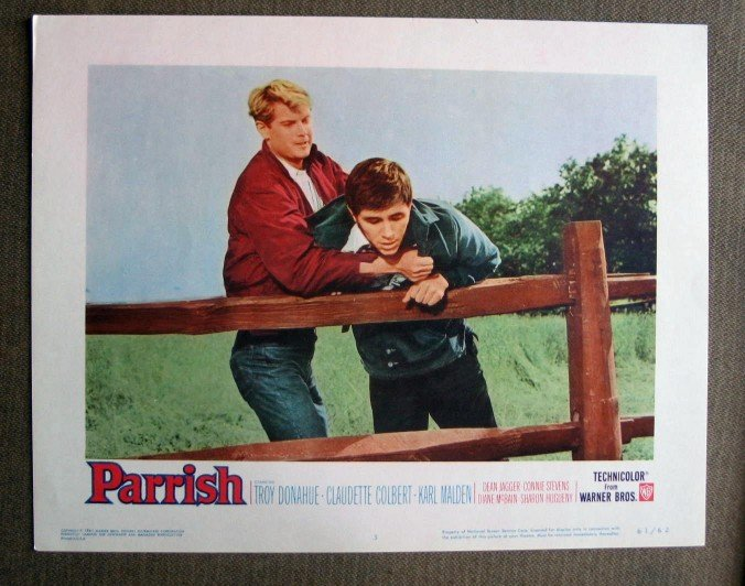 BY37 Parrish TROY DONAHUE and DEAN JAGGER Original 1961 Lobby Card
